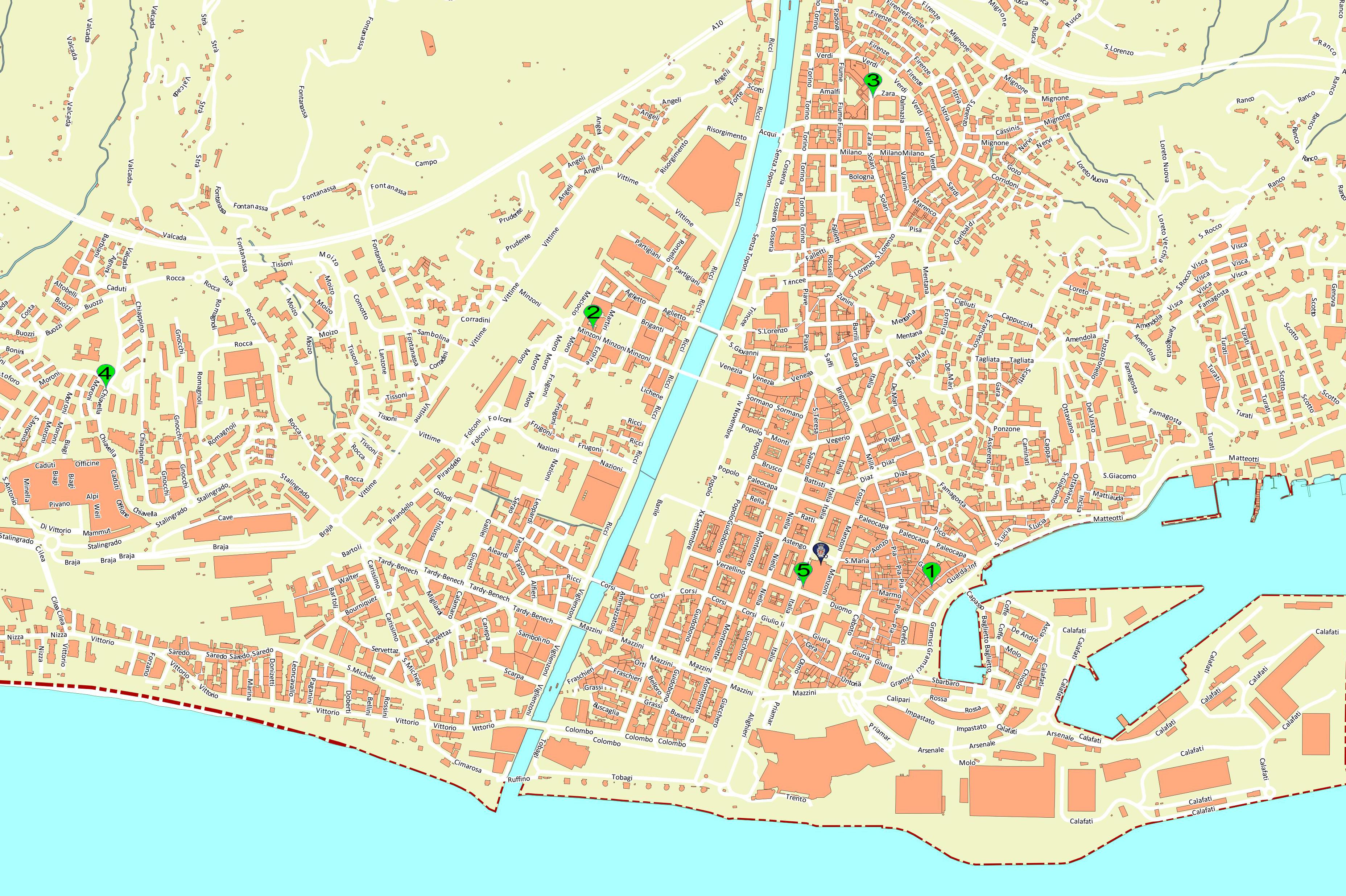 Cartina di Savona con geolocalizzazione degli uffici